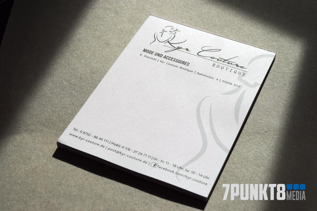 Quittungsblock mit Logo für Kyr Couture von 7PUNKT8 Media