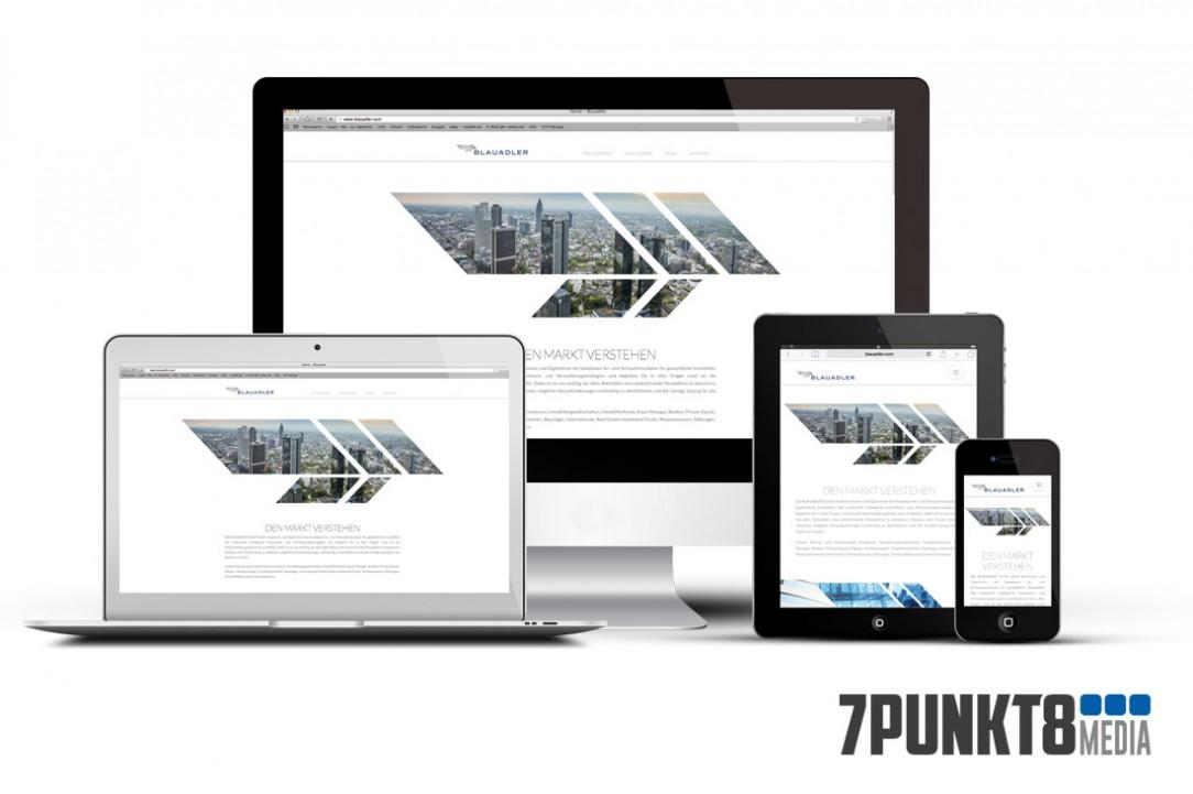 Die One-Page Webseite von BLAUADLER online.