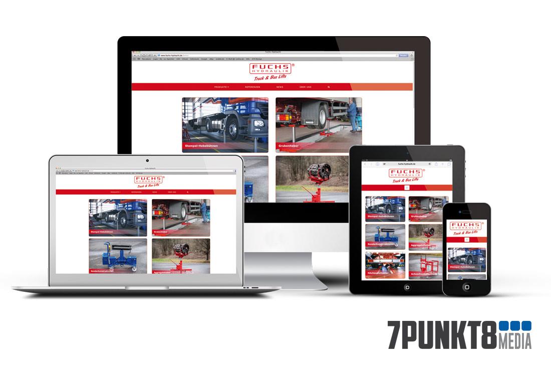 Fuchs Hydraulik Webseite von 7PUNKT8 Media