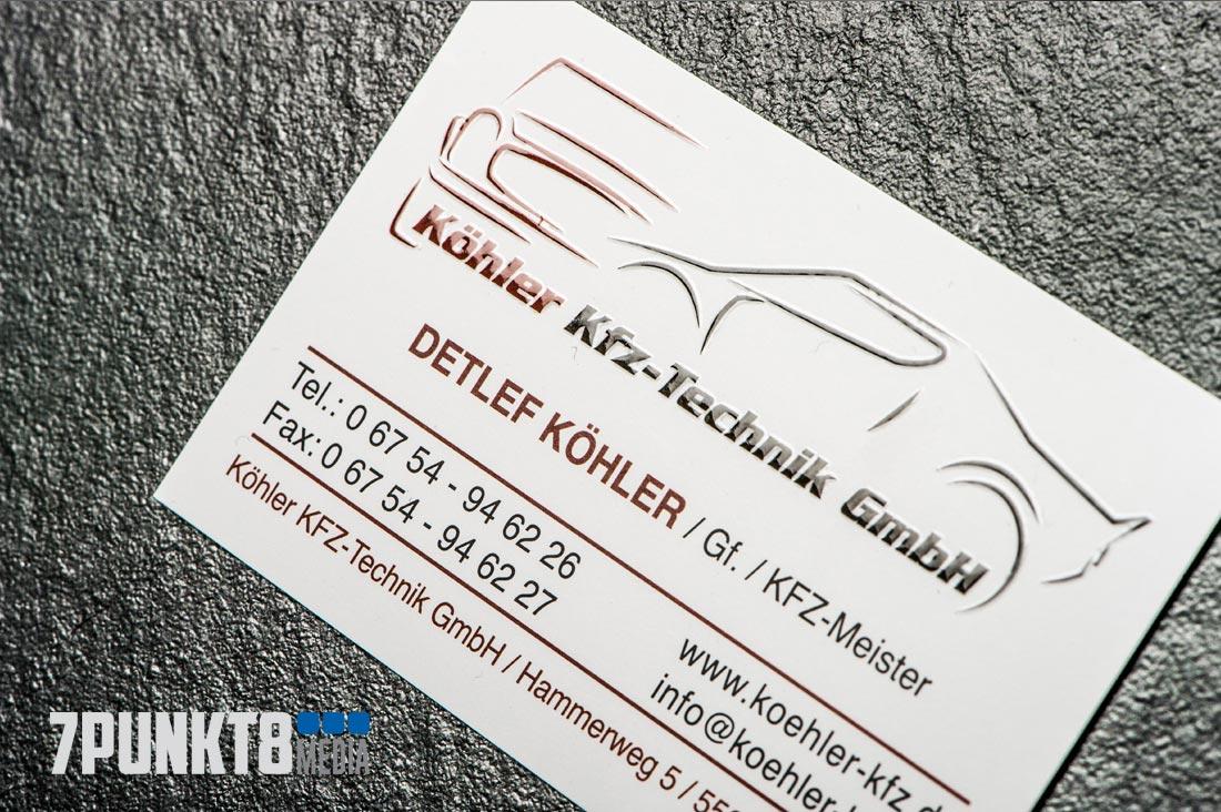 Köhler KFZ-Technik GmbH Gestaltung der Visitenkarten