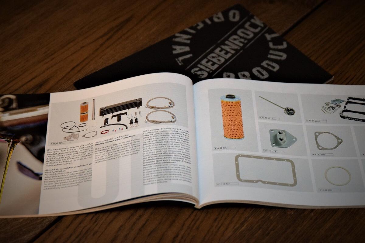 Nur selten sind Produktabbildungen mit Artikelnummern zu sehen. Bestellt wird über den Online-Shop von Siebenrock.