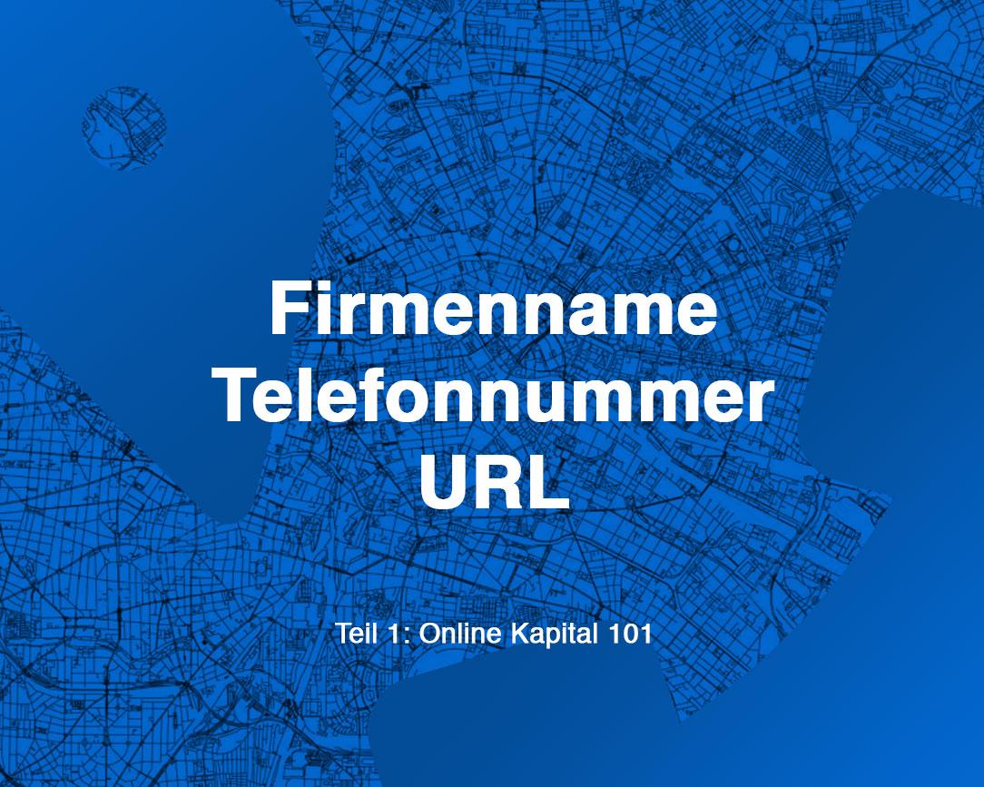 Firmenname, Telefonnummer und URL festlegen